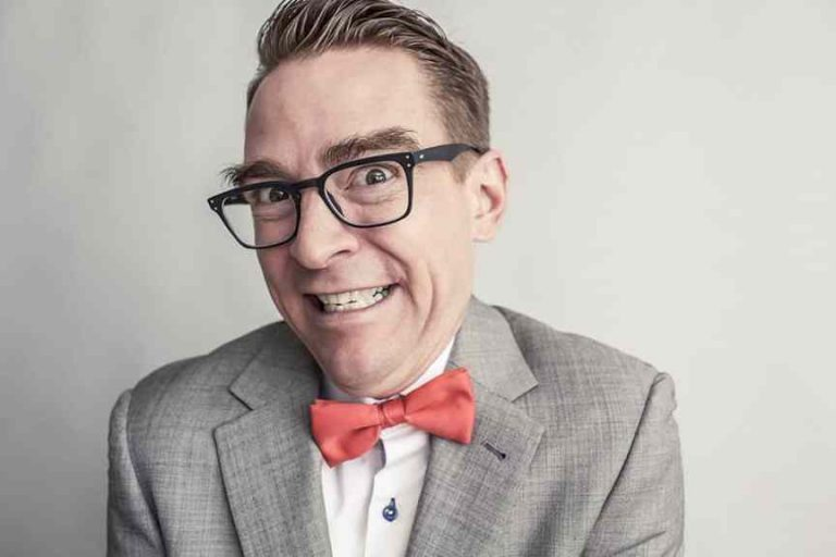 Geek guy wearing red bow tie