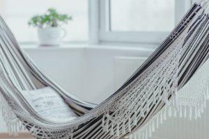 Gray hammock with fringe