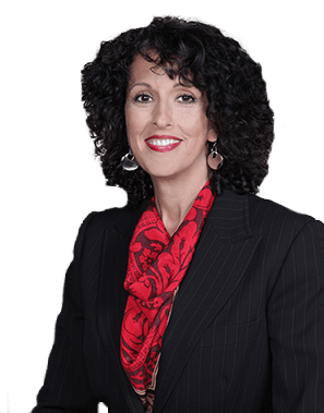 Dana Mayer wearing black blazer with red scarf for Executive Career Coaching meeting