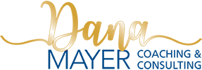 Dana Mayer Coaching and Consulting logo in gold and blue